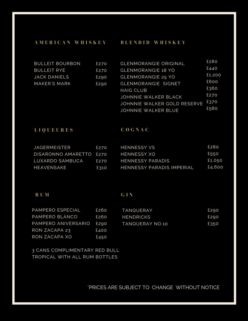 Drinks and Bottle Prices Menu for Aristocrat Club