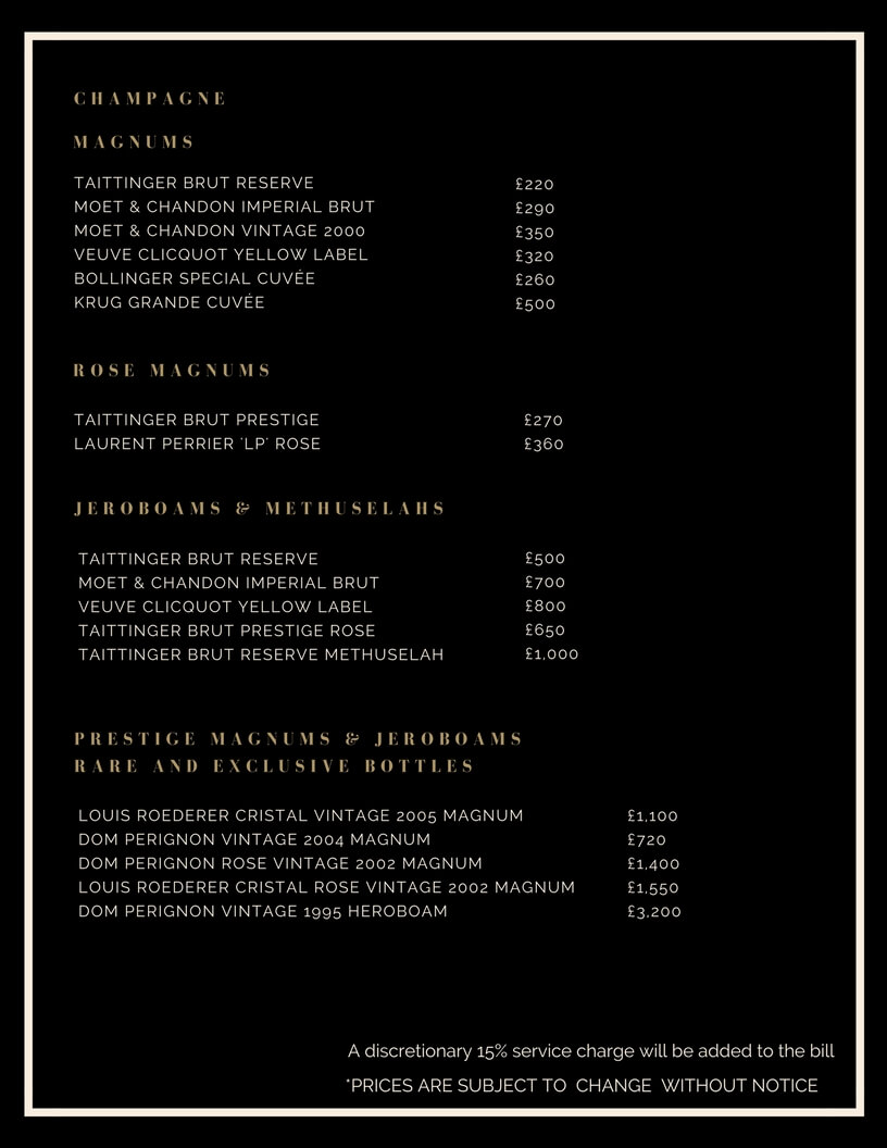 Drinks and Bottle Prices Menu for Cafe de Paris
