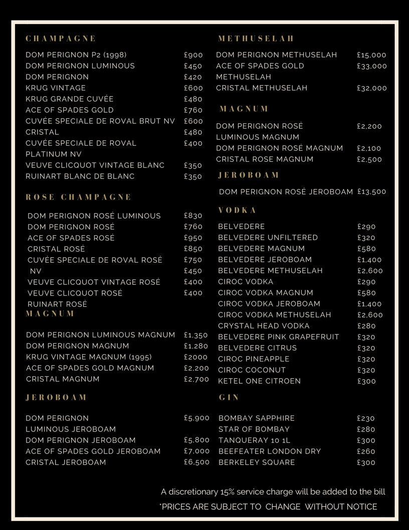 Drinks and Bottle Prices Menu for Charlie Club
