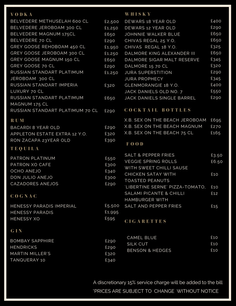 Drinks and Bottle Prices Menu Libertine Club London