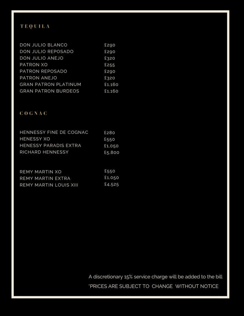 Drinks and Bottle Prices Menu for Project Club