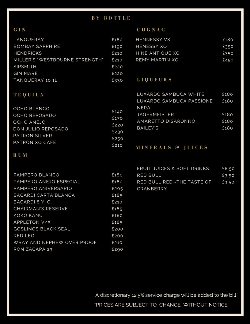 Drinks and Bottle Prices Menu for Roof Gardens