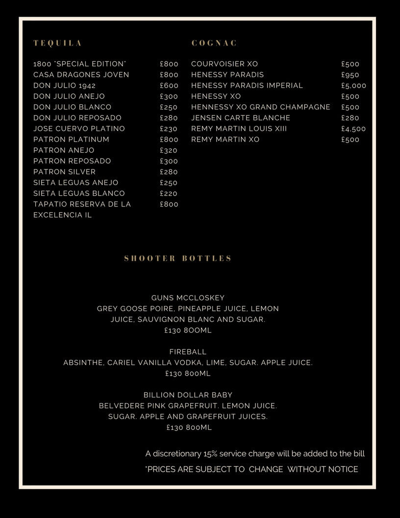 Drinks and Bottle Prices Menu for Cuckoo Club